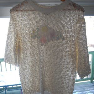 Vintage 80's pastel flower decal sweater